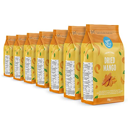 Marca Amazon - Happy Belly Mango deshidratado, 7 x 100 g
