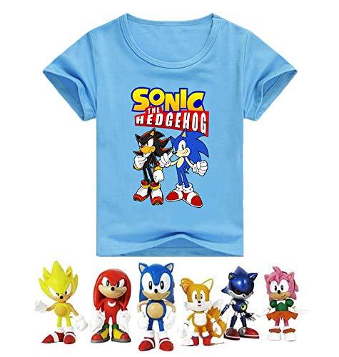 SUPFANS Kids Sonic The Hedgehog Camiseta de manga corta de algodón con mini figuras sónicas Azul+figuras 6-7 Años