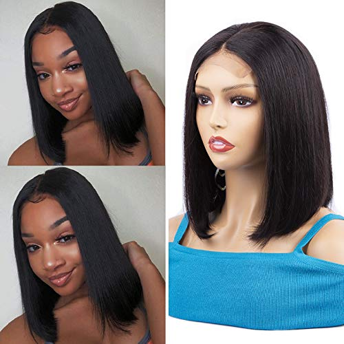 Blomas Human Hair Bob Wigs Lace Closure Wigs Human Hair 4×4 Lace Front Bob Wig Straight Bob Wigs Middle Part Short Bob Wigs Pre Plucked Natural Color 12 Inch