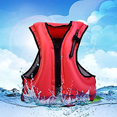 Lixada Inflatable Life Jacket Adult Swimming Vest for Snorkeling Suitable for 80-440 lbs - Floating Device Swimming Drifting Surfing Water Sports Adults Life Saving Vest (Red)