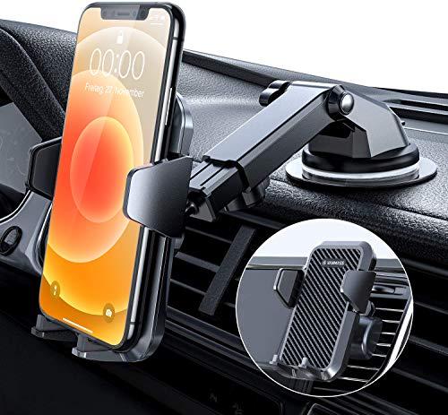 VANMASS Handyhalterung Auto Handyhalter fürs Auto 3 in 1 Kfz Handyhalterung Lüftung & Saugnapf Halter 100{2e07bbf55d7cfc9a366e38860a40794dd819ca7fc3fe4cf962532f711d2f0bea} Silikon Schutz Smartphone Halterung Auto für iPhone Samsung Huawei Mate LG (Upgrade Version)