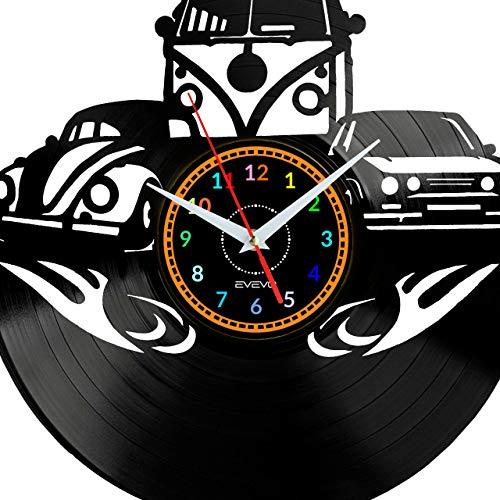 EVEVO Golf California Garbus Wanduhr Vinyl Schallplatte Retro-Uhr Handgefertigt Vintage-Geschenk Style Raum Home Dekorationen Tolles Geschenk Uhr Golf California Garbus
