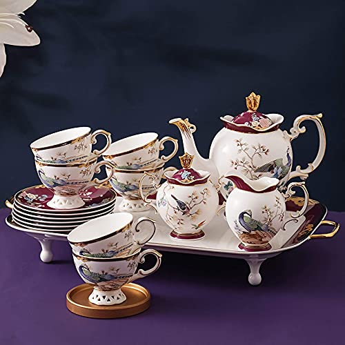 Tea Sets For Adults Porcelain Tea Set High-Grade Bone China Coffee Cup Sets For Afternoon Tea And Coffee Wedding Gift 16Pcsb