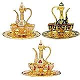 OrangeC Juego de accesorios para vino, juego de copa de regalo, diseño de rosas, estilo europeo, petaca, copa, bandeja, accesorios de regalo, tallados a mano, decoración de mesa