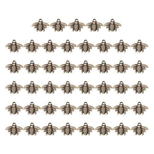 Dipper de madera para miel, mini palitos de madera de miel para regalo de boda (50 colgantes de abeja)