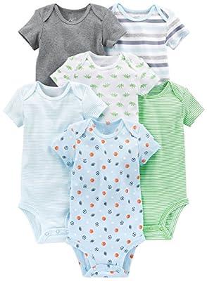 Simple Joys by Carter's Baby Boys 6-Pack Short-Sleeve Bodysuit, Blue/Grey, Newborn