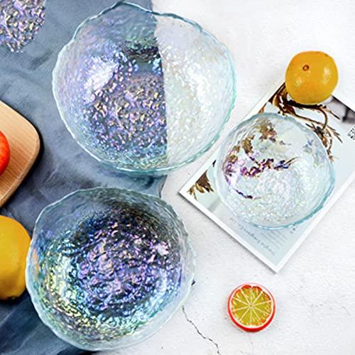 Insalatiere di vetro, Home & Kitchen piatti di frutta trasparenti, Creative Novità Multi-Color Piatto irregolare S+M+L