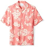 Amazon Brand - 28 Palms Men's Relaxed-Fit Silk/Linen Tropical Hawaiian Shirt, Washed Red Vintage Floral, Large