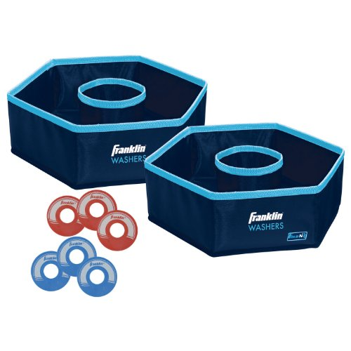 Franklin Sports Washer Toss - 6 Washers and 2 Collapsible Targets - Beach or Camping Outdoor Lawn Game - Official Size Washer Set