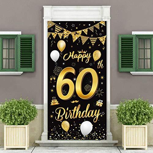 60. Geburtstag Dekoration Türabdeckung Banner, Großer Stoff Schwarz und Gold Glitter Zeichen Geburtstag Banner für 60 Geburtstagsfeier Dekorationen und Zubehör
