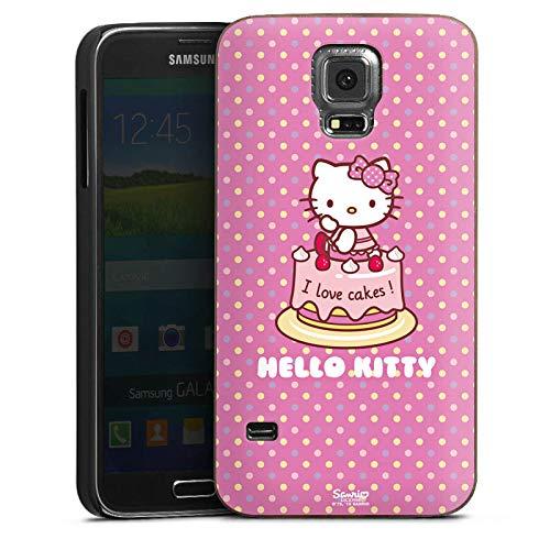 DeinDesign Holz Hülle kompatibel mit Samsung Galaxy S5 Neo Walnuss Handyhülle Echtholz Hülle Geburtstag Hello Kitty Kuchen