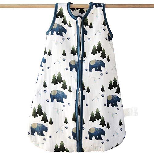 Aenne Baby, Manta de muselina con estampado de oso tribal, TOG2.5 cálido algodón de bambú de 4 capas, pequeña (0 a 6 meses, 70 cm) 1 paquete, saco de dormir, regalo de baby girl shower