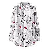 A-HXTM Camisa con Estampado de Moda Blusa de Mujer Blusas y Blusas de Manga Larga Camisa Informal de Estilo Largo Ropa de Dama 5XL se Aplica al Trabajo Negocios o Uso Diario etc.-XXXL_3