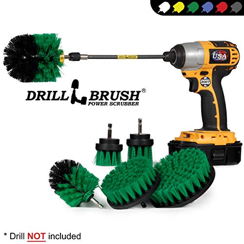 Drillbrush Ultimate Kitchen Cleaning Kit with 7 Inch Extension - Kitchen Cleaning Supplies - Cast Iron Skillet - Drill Brush - Mold Remover - Calcium - Rust - Hard Water - Stove, Burners, Oven Rack