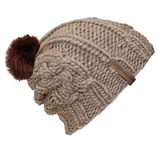 """BommelME """"Beanie Handmade Plait Bonnet tricoté à la Main avec Pompon d'échange, Bonnet tricoté de Laine avec Pompom démontable, Taille Unique, Bonnet:"""