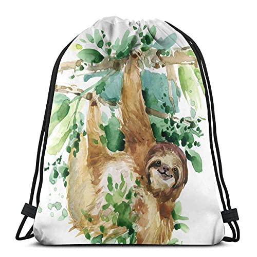 Lmtt Mochila con cordón, bolsa de acuarela, resistente al agua, ligera, mochila de gimnasio para senderismo, yoga, gimnasio, natación, viajes, playa