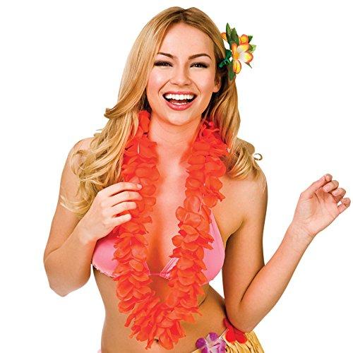 wicked Orange 9.5Cm Petal Hawaiian Hibiscus Lei Garland Fancy Dress Accessory
