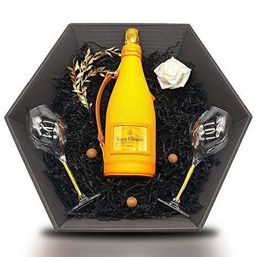 Veuve Clicquot Brut Yellow Label Ice Jacket Champagne 12% 0,75 l Geschenkset inkl. 2x Veuve Clicquot Gläser mit orangenen Stiel & zauberhafte Deko