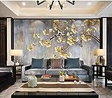 Apoart Wandtapete Reiches und schönes Blumenvogel Fernsehhintergrund-Wandbild des handgemalten Ginkgobaums 450X300cm(177.16 * 118.11in)