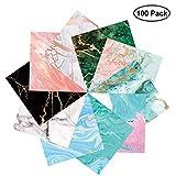 PaperKiddo Origami Papel Patrón de Mármol Bronzing Cuadrado Solo lado con 10 Diferentes Diseños únicos 15 × 15 cm 100 Hojas