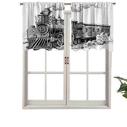 Hiiiman Cenefa de diseño moderno con aislamiento térmico para ventana, estilo rústico, estilo locomotora, vagones de madera con riel, juego de 2, 137 x 60 cm para habitación de los niños
