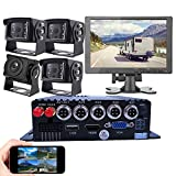 JOINLGO 4-CH GPS 4G 1080P Mobile Vehicle Car DVR MDVR Video Recorder Kit Remote Live View on Phone/PC/Webpage 4 Side Front Rear View Backup Car Cameras 10' Screen for RV Truck Bus