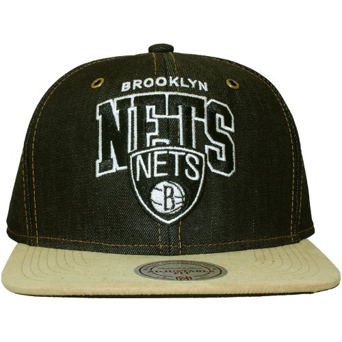 Mitchell & Ness Brooklyn Nets NBA Bleu/Beige Denim Arch Strapback Casquette de Baseball Taille Reglable