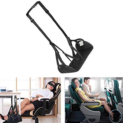 N / A Hanging Footrest Hammock Portable Plane Leg Rest, Provides Relaxation and Comfortable for Long Flight, Soft Yet Firm, for Home, Office, Travel