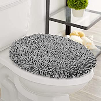 LuxUrux Toilet Lid Cover Extra-Soft Plush Seat Washable Shaggy Microfiber Standard Toilet Lid Covers for Bathroom Machine Wash & Dry  18 x 18   Light Grey