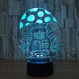 Casa de Setas de Dibujos Animados 3D Led Navidad Luz de Noche USB 7 Cambio de Color 3D Ilusión Lámpara de Mesa Lámpara para Dormir para bebés