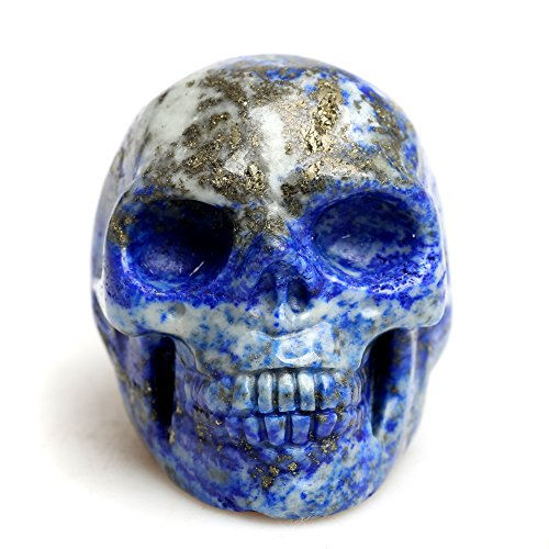 Healing Skull Crystal Quartz Carved Gemstone Collectible Figurine Stone (Blue)