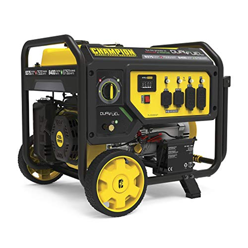 Champion Power Equipment 100891 9375/7500-Watt Dual Fuel Portable Generator, Electric Start