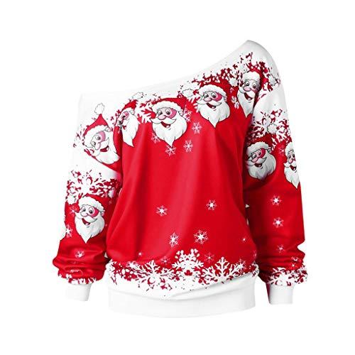 LILICAT Damen Weihnachten Sweatshirt Skew Neck Oberseiten Jumper Pullover Sweater Weihnachtsmann Print Oberteile Langarm Oversize Bluse Tunika Winterpullover Baumwoll Warm Tops