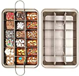 Brownie Pan with Dividers, Divided Non Stick Edge Brownie Pans with Grips Slice, Bakeware Cutter Tray Molds Square Cake Fudge Pan with Built-in Slicer lid for All Oven Baking, 12X8 Inch Champagne Gold