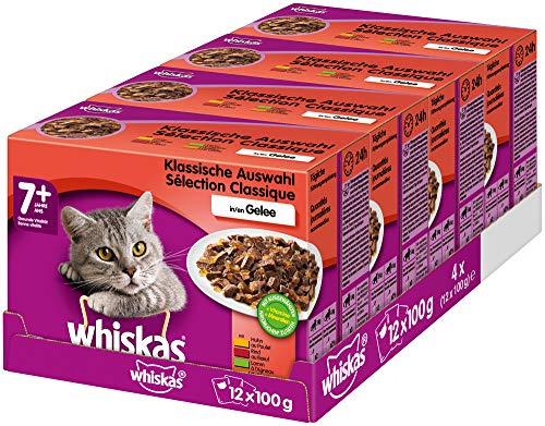 Whiskas 7 + Katzenfutter – Klassische Auswahl in Gelee – Hochwertiges Nassfutter für Katzen ab 7 Jahren und älter – 48 Portionsbeutel à 100g