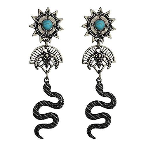 Happyyami 1 par de Pendientes Colgantes de Serpiente Pendientes de Girasol Tótem Indio Mujeres Delicadas Gotas para Las Mujeres de Fiesta de Dama Niña (Plata)