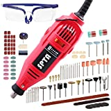 SPTA 130W Amoladora eléctrica,Mini amoladora Avanzado Profesional Kit de herramientas rotatorias multifunción Multiherramienta Mini herramienta con 18 accesorios Velocidad variable para artesañas
