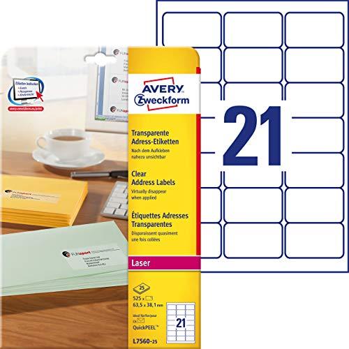 AVERY Zweckform L7560-25 Adressetiketten/ Adressaufkleber (63,5 x 38,1 mm auf DIN A4, bedruckbar, selbstklebend, ideal für C6 Briefkuverts, 525 Etiketten auf 25 Blatt) transparent