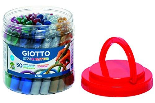 Giotto 545000-50 Colle Glitter 10.5 ml in Barattolo, Colori Assortiti