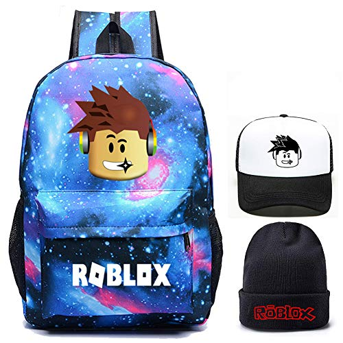 Roblox Backpack with Baseball Cap and Knitted Hat, Student Bookbag Laptop Backpack Travel Computer Bag for Boys Girls Kids Teenagers Game Fans Gift (Galaxy Blue)