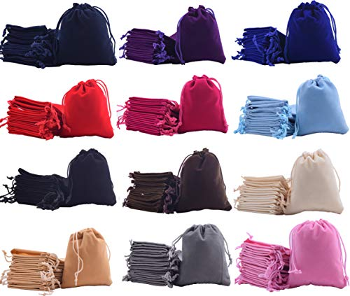 Sansam 24pcs 12 Colors Mixed Drawstrings Velvet Bags for Jewelry, Gift, Wedding Favors, Candy Bags, Party Favors, 4.8x6.0''