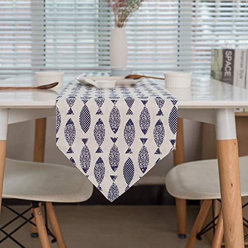 Goodvk Camino de Mesa Azul Saury Spring Wedding Table Runner R for cenas Familiares o reuniones Ambiente Cálido (Color : Blue/White, Size : 30x140cm)