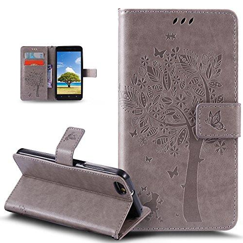 Kompatibel mit Huawei Honor 4X Hülle,Huawei Honor 4X Schutzhülle,Prägung Katze Schmetterlings Blumen PU Lederhülle Flip Hülle Handyhülle Ständer Tasche Wallet Hülle Schutzhülle für Huawei Honor 4X,Grau