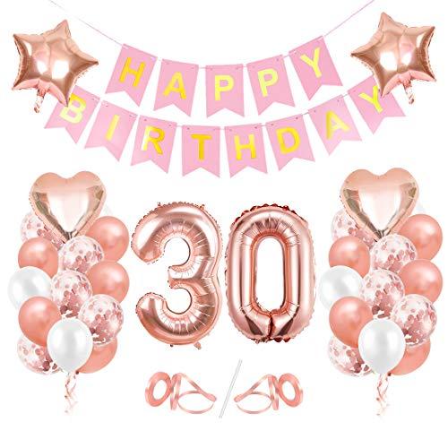 Globos Cumpleaños 30 año, 30 Oro RosaDecoraciones, Pancarta de Feliz Cumpleaños, Decoración de Cumpleaños para 30 Niña, Globos de Confeti y Aluminio Oro Rosa, Fiesta Regalos para Niña y Mujeres y Bebe
