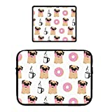 15' Laptop Sleeve Locking Edge Mouse Pad Multi-Color & Size Choices Case/Neoprene Notebook Computer Pocket Tablet Carrying Bag Cover, Funny Dogs Pug Donut Coffee