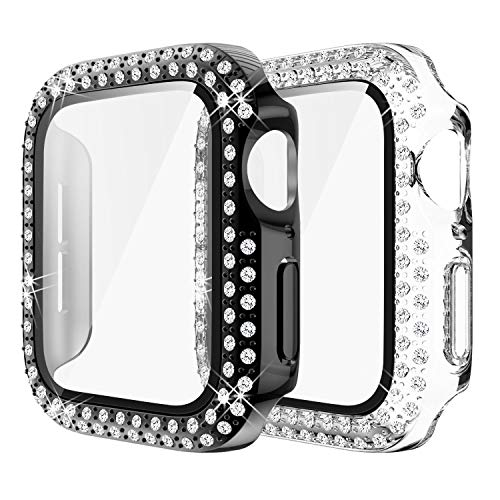 Yolovie (2-Pack) Compatible for Apple Watch Case with Tempered Glass Screen Protector 42mm for Series 3 2 1, Bling Cover Diamonds Bumper Protective Frame for iWatch Girl (42mm Clear Black)