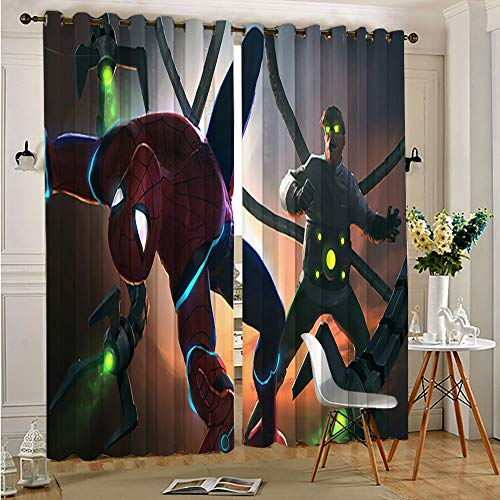Avengers Superhero Blackout Kids Curtains for Bedroom Doctor Octopus vs Spiderman Insulated Light Noise Blocking Drapes for Adults Kids Bedroom Living Room 52'x63'