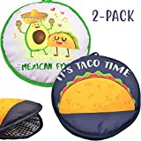 Microwaveable X-Large Tortilla Warmer Pouch 2 Pack - 2 Fun Designs'Taco Time' &'Mexican Food' to...