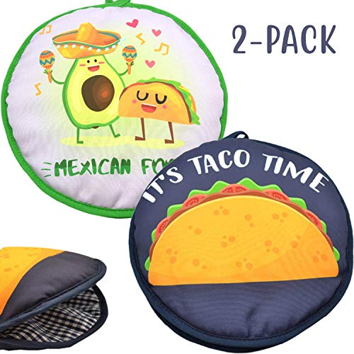 """Microwaveable X-Large Tortilla Warmer Pouch 2 Pack - 2 Fun Designs""""Taco Time"""" &""""Mexican Food"""" to make taco night special. 12 Inch in Diameter Microwave Corn or Flour Tortillas, Pizza, Naan Bread"""