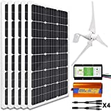 ECO-WORTHY 900W 12V Wind Solar Power Kit: 5pcs 100W Mono Solar Panels + 12V/24V 400W Wind Turbine + 1KW 12V-110V Inverter for Home, Boat and Other Off Gird Applications